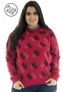 Blusã£O Konciny Moletom Plus Size 3871522 Vermelho - Vermelho - Feminino - Dafiti