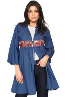 Kimono Jeans For Why Bordado Azul