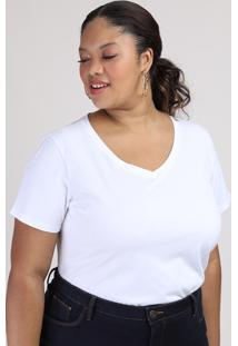 Blusa Feminina Plus Size Manga Curta Decote V Branca
