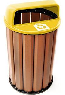 Lixeira Coleta Seletiva 82Cm 94L Em Madeira Plástica In Brasil Com Tampa Amarela