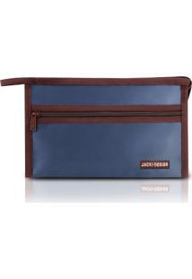 Necessaire Envelope Em Tecido Grande Jacki Desihn Essencial Iii Azul Marinho