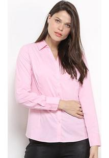 Camisa Social Facinelli Manga Longa Feminina - Feminino-Rosa