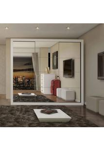 Guarda Roupa Casal Com Espelho 3 Portas Flórida Siena Móveis Branco