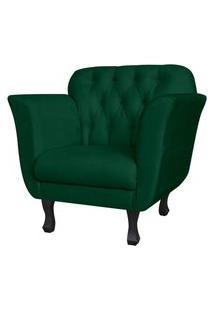 Poltrona Decorativa Helena Pés Luis Xv Suede Verde - Ds Estofados