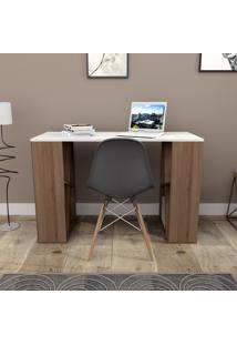 Mesa Para Escritório Com 8 Nichos Press Bliv - Branco E Nogueira