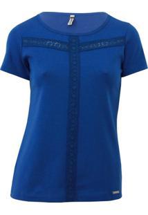 Blusa Pau A Pique Renda - Feminino-Azul Royal