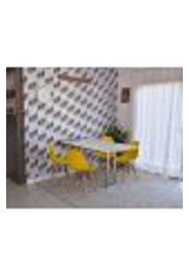 Conjunto De Mesa Dobrável Retrátil 1,40 Branco/Noronha Inox + 4 Cadeiras Eiffel - Amarela