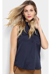 Camisa Regata We Are The Basic Bolso Feminina - Feminino-Marinho