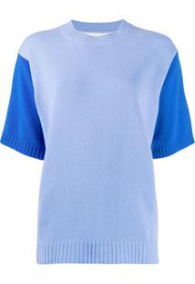 Chinti & Parker Blusa Bicolor De Tricô Canelado - Azul