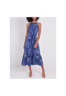 Vestido Midi Cativa Feminino Azul Marinho