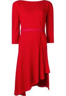 Lanvin Asymmetrical Midi Dress - Vermelho
