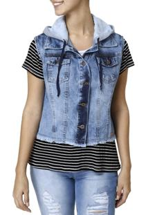 Colete Jeans Capuz Feminino Vizzy - Feminino