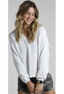 Suéter Feminino Em Tricô Chenille Decote V Branco
