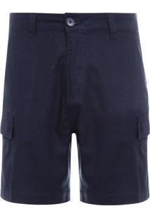 Bermuda Masculina Cargo Cotton Linen - Azul Marinho