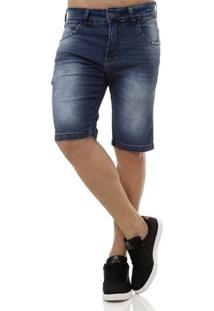 Bermuda Jeans Masculina Rock E Soda Azul