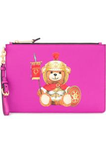 Moschino Clutch Com Logo 'Teddy Bear' - Rosa