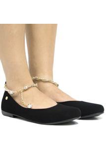 Sapatilha Zariff Shoes Camurça Pedras Feminina - Feminino-Preto