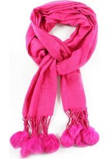 Cachecol Liso Pom Pom Pink