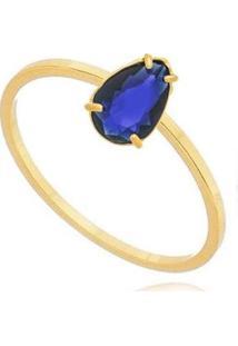 Anel Solitário Gota Zircônia Safira Banhado 18K Lys Lazuli Feminino - Feminino-Dourado