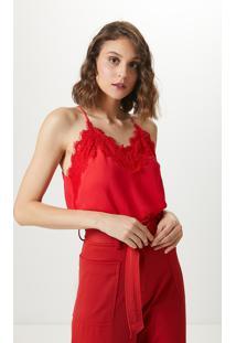 Blusa Alça Decote Renda-Flame Red - Pp