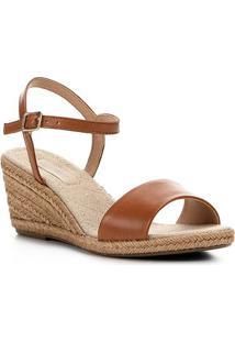 Sandália Anabela Shoestock Couro Corda Feminina - Feminino-Marrom Claro