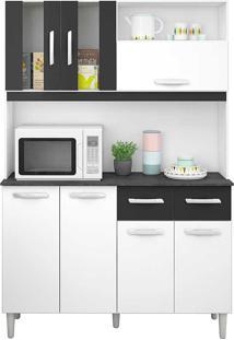 Cozinha Compacta Com 7 Portas E 2 Gavetas Ellen - Poquema - Branco / Preto
