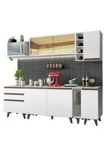 Cozinha Completa Madesa Reims 235001 Com Armário E Balcão Branco Cor:Branco