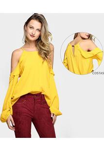 Blusa Colcci Recorte E Babados - Feminino-Amarelo