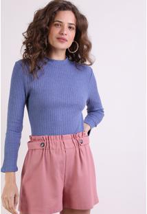 Suéter Feminino Canelado Em Tricô Decote Redondo Azul