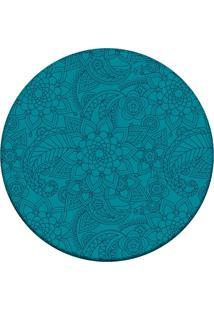 Tapete Love Decor Redondo Wevans Flor Azul 84Cm