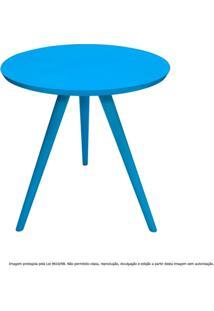 Mesa Lateral De Canto Tripé Pequena Laqueada Azul Turquesa
