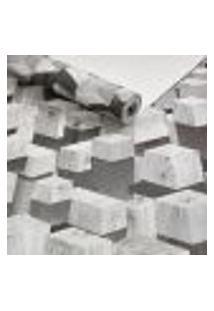 Papel De Parede Importado Lavavel Geometrico Cubos 3D Cinza