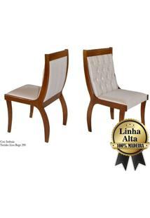 Kit C/ 02 Cadeiras Perola Mobillare_Imbuia/ Liso Bege 290