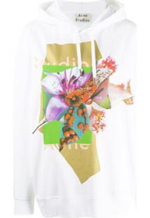 Acne Studios Suéter Floral Com Logo E Capuz - Branco
