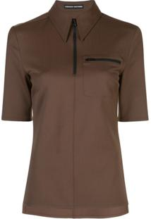 Kwaidan Editions Camisa Polo Com Zíper - Marrom