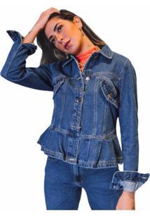 Jaqueta Alcance Jeans Babado Recortes Gode Azul Escuro - Azul - Feminino - Dafiti