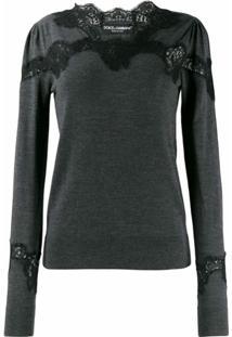 Dolce & Gabbana Suéter Com Detalhe De Renda - Cinza