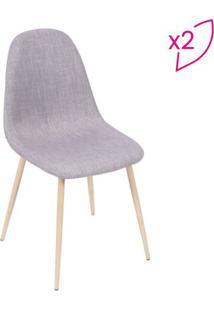 Jogo De Cadeiras Charla- Cinza & Madeira Clara- 2Pçsor Design