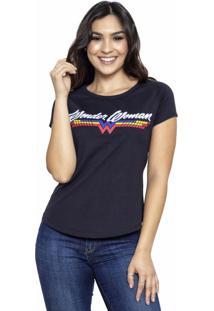Camiseta Sideway Mulher Maravilha Logo - Preta - Preto - Feminino - Dafiti