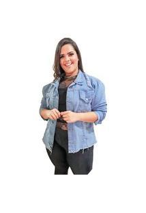 Jaqueta Jeans Plus Size Azul Claro