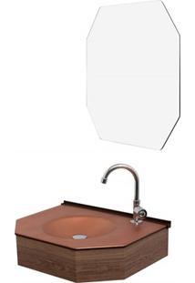 Conjunto De Lavabo E Espelheira Em Mdf 55Cm Bronze