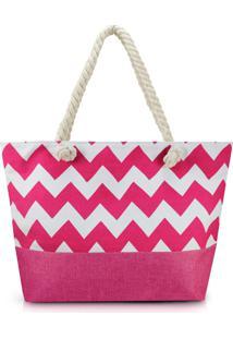 Bolsa De Praia Estampada Lisa Com Alça De Corda Jacki Design Pink - Tricae