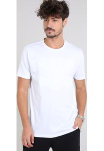 Camiseta Masculina Com Caveira Manga Curta Gola Careca Branca