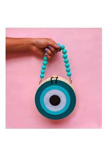 Bolsa De Palha Olho Grego Com Alça De Mão De Bolas - Azul
