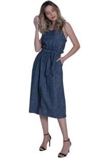 Vestido Jeans Denuncia Mid Sobreposto Feminino - Feminino-Azul