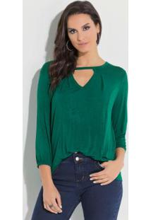 Blusa Quintess Verde Com Tira No Decote