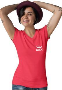 Camiseta Feminina Gola V Ezok King Vermelho - Kanui