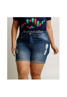 Bermuda Plus Size Feminina Jeans Destroyed