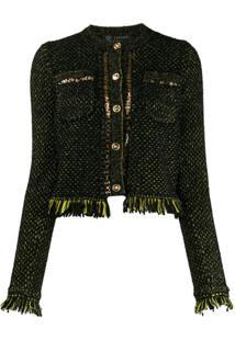 Versace Jaqueta De Tricô Com Acabamento De Franjas - Preto
