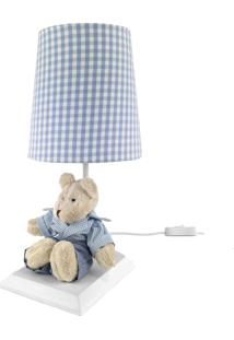Abajur Toys Claro Urso Azul Quarto Bebê Infantil Menino